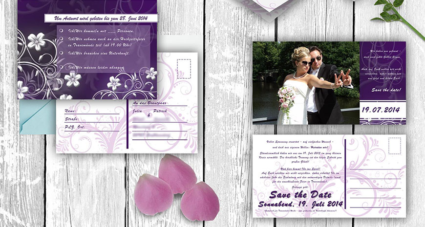 Romantisch-verspielte Hochzeitssets
